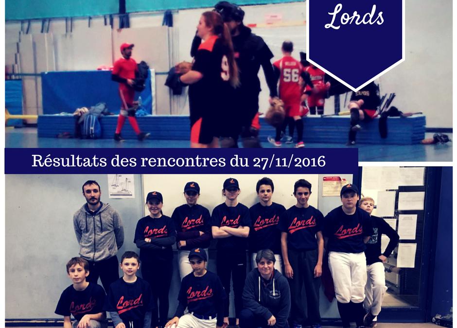 Retour sur les matchs du 27 novembre 2016 – U15 et Softball