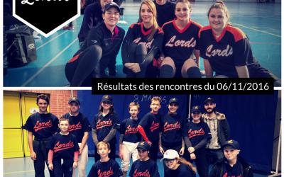 Résultats des rencontres du 06 novembre 2016 – softball féminin – U15